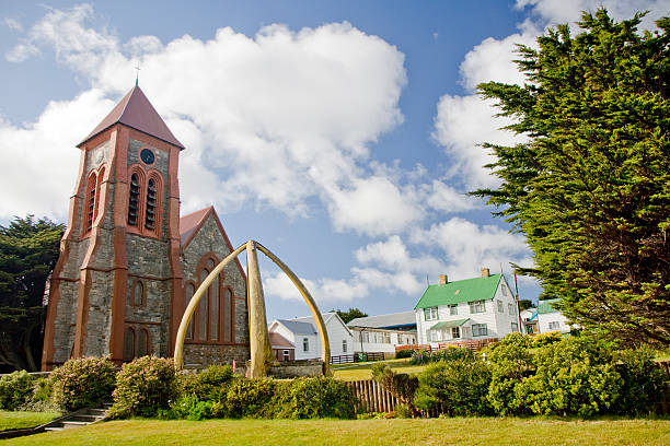 port stanley church falkland islands - port stanley falkland islands stockfoto's en -beelden