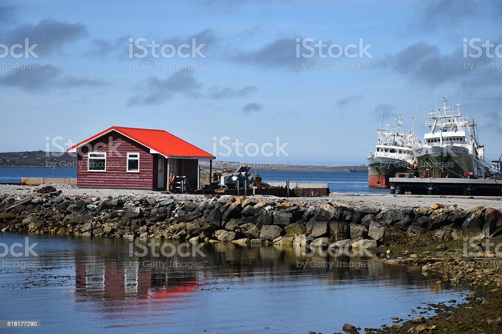Port Stanley harbor hut stock photo