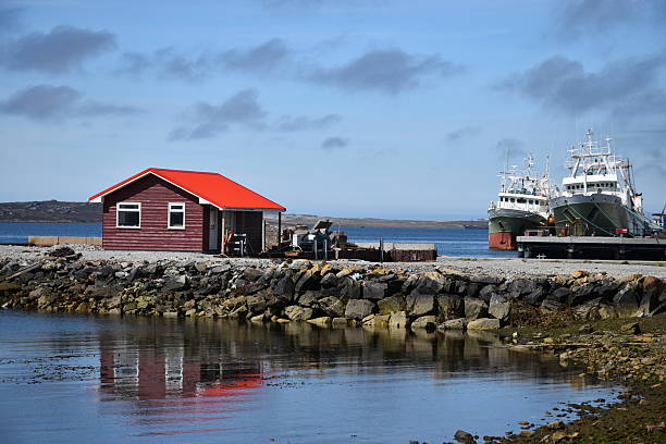 port stanley harbor hut - port stanley falkland islands stockfoto's en -beelden
