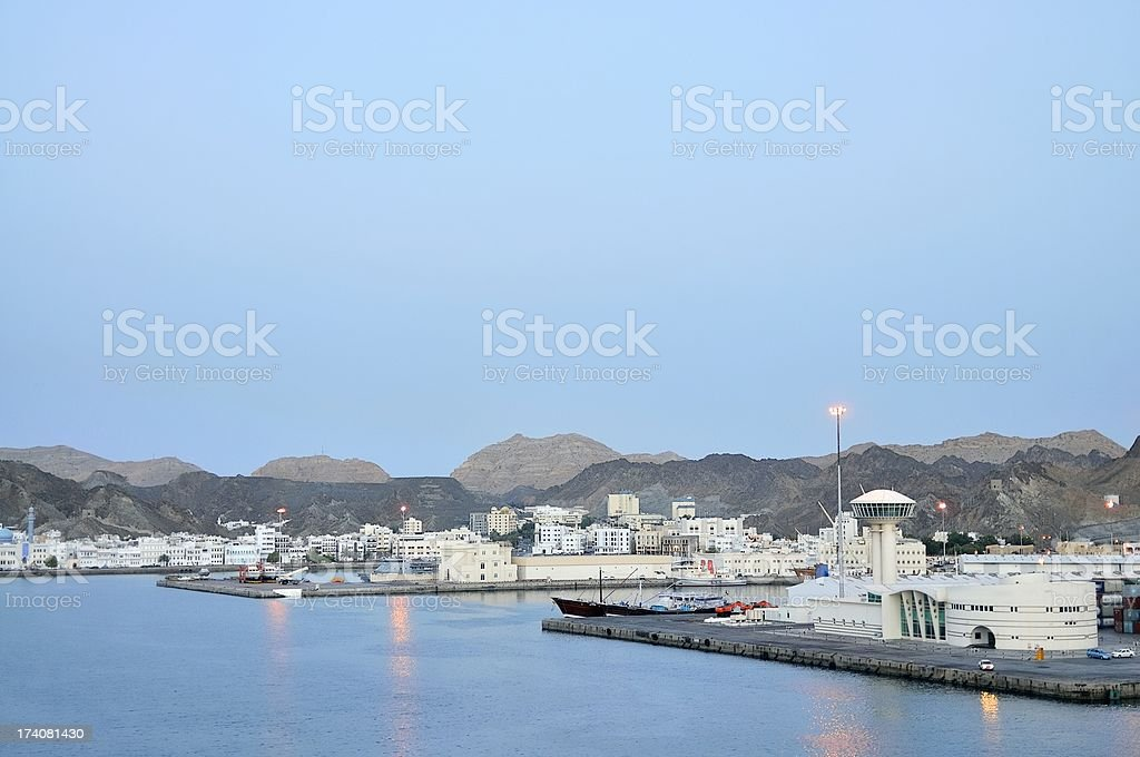 Port Sultan Qaboos Cruise Terminal And Control Tower stock photo