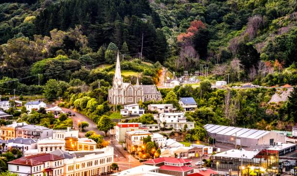 Port town of Port Chalmers, Dunedin New Zealand stock photo