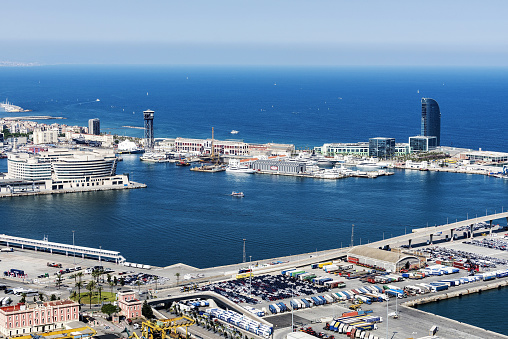 Port Vell and cityscape from Montjuic in Barcelona