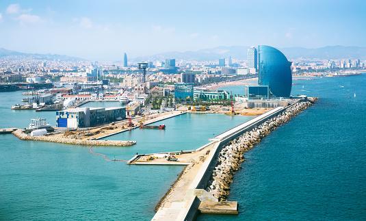 Port Vell and La Barceloneta district in Barcelona