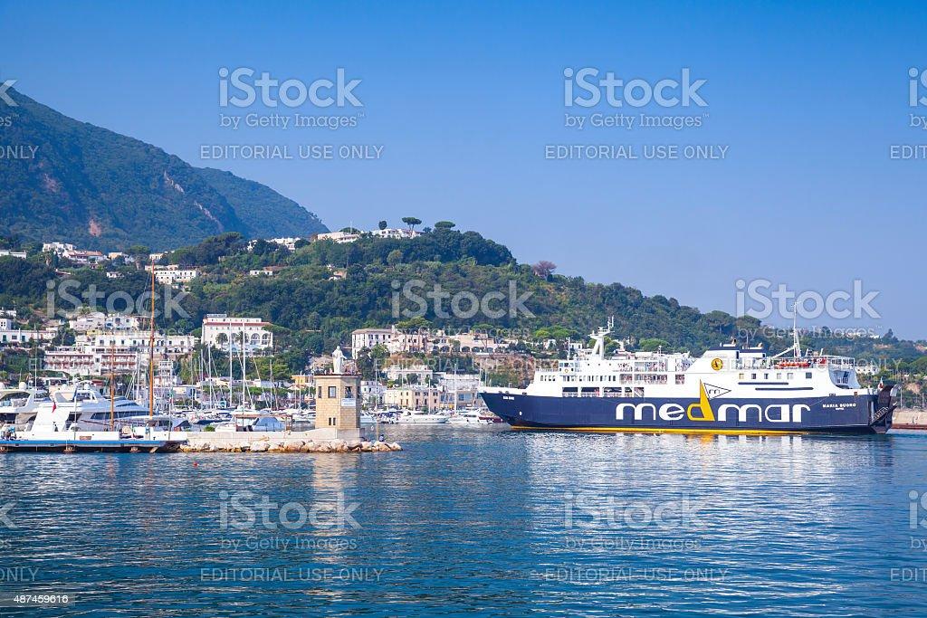 Port view of Casamicciola Terme, Ischia island stock photo