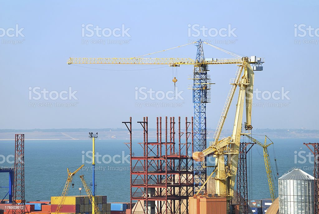Port warehouse with inustrial cargoes royalty-free stock photo