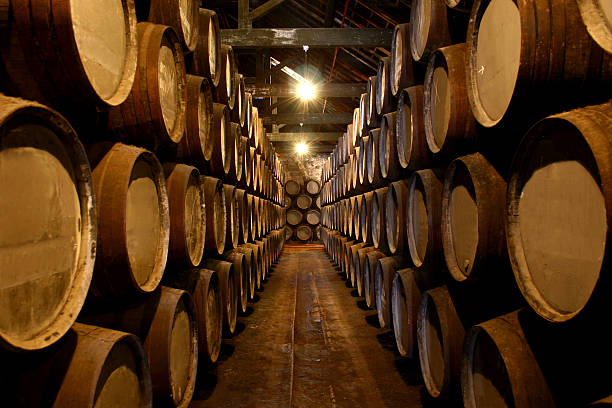 Port Wine Cellar Interior of a Port Wine Cellar cellar stock pictures, royalty-free photos & images