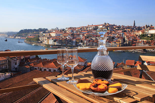port wine with a view - portugal stock photos and pictures
