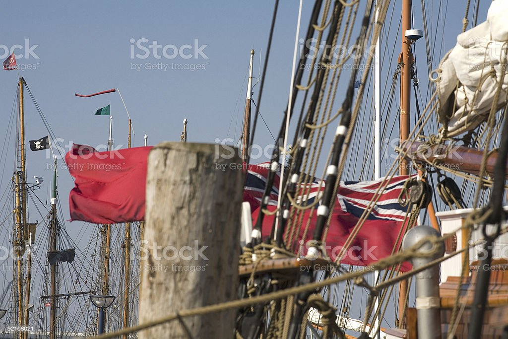 port with historic tall ships stock photo