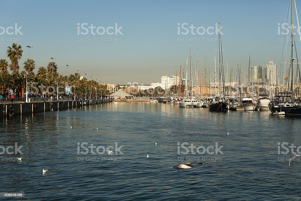 Port with yachts in Barcelona stock photo