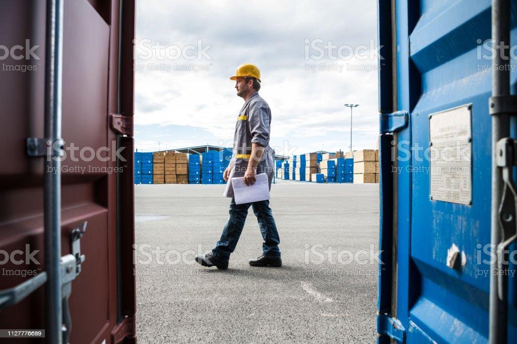 Port Worker stock photo