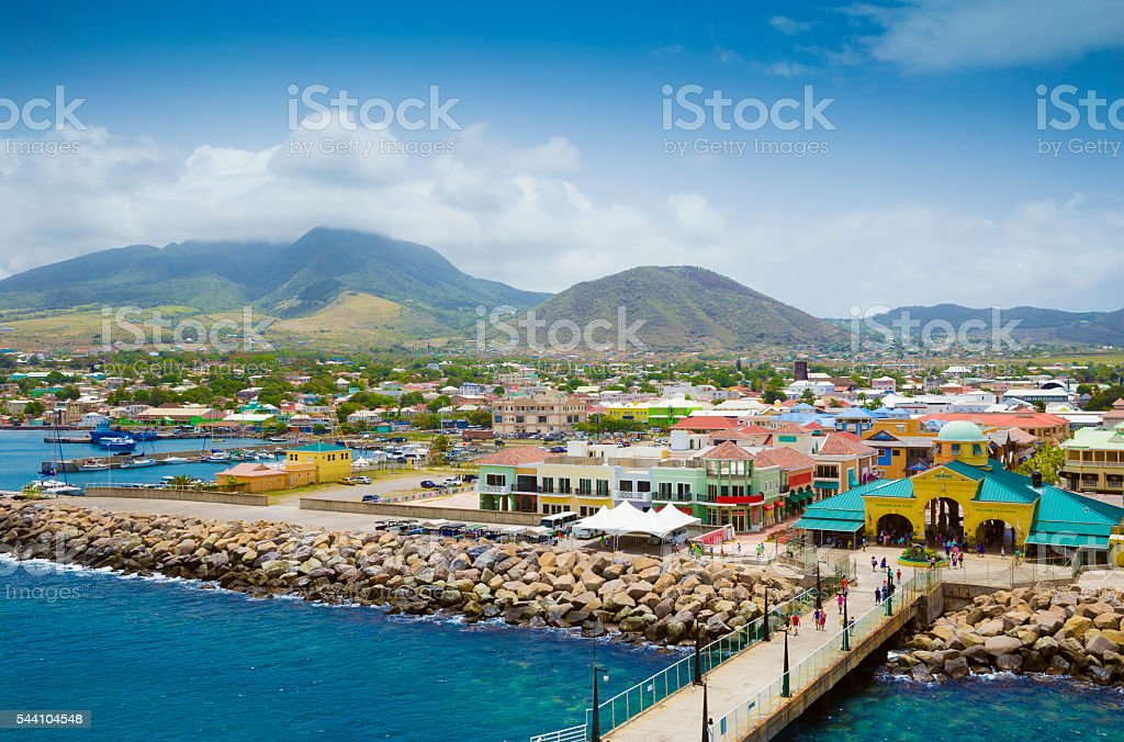 Port Zante in Basseterre town, St. Kitts And Nevis stock photo