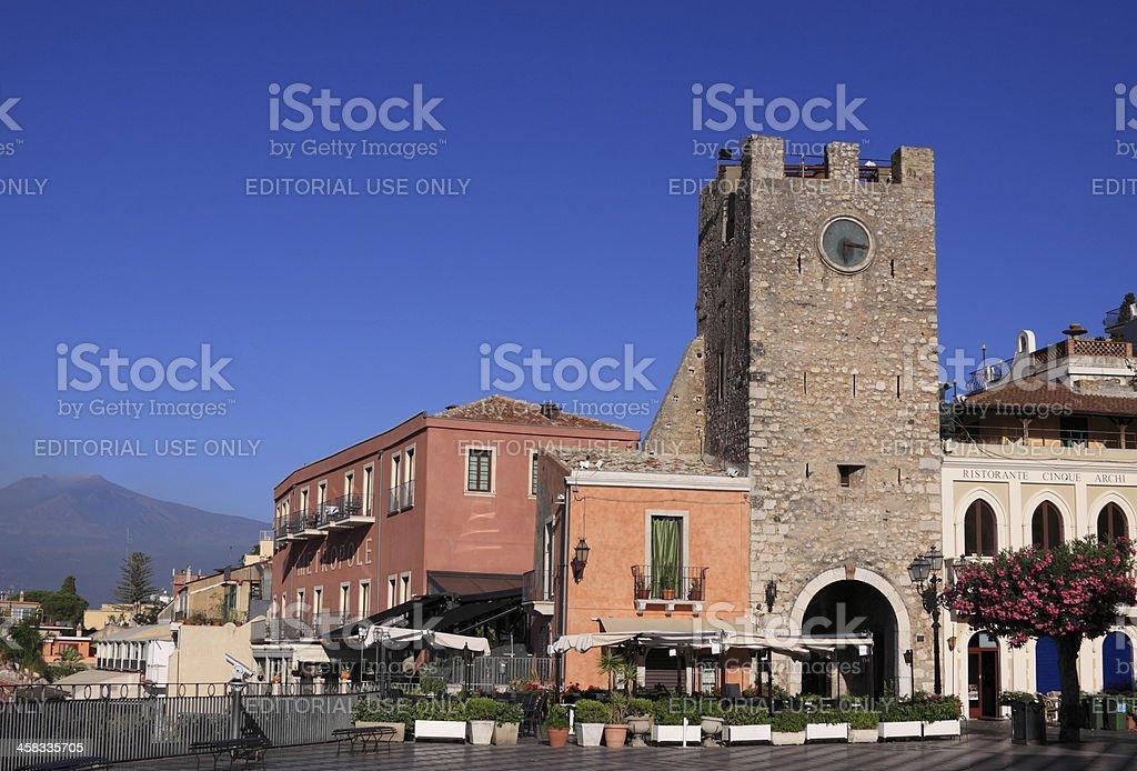 Porta di Mezzo tower in Taormina stock photo