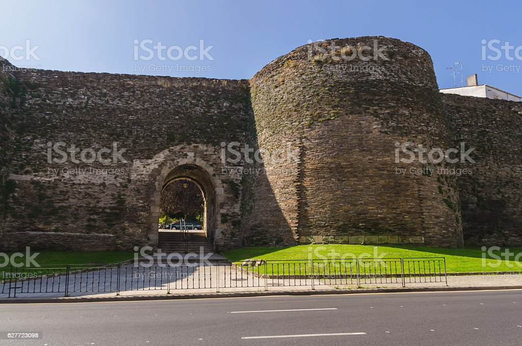 Porta falsa in Lugo wall stock photo