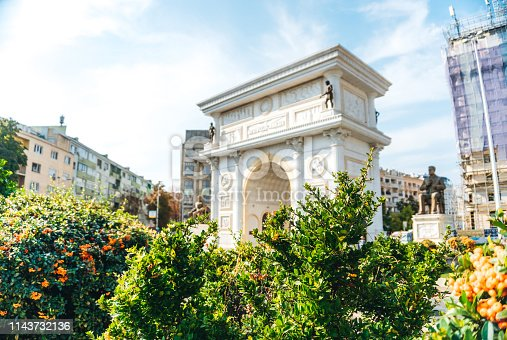 View to triumphal arch in Skopje, North Macedonia