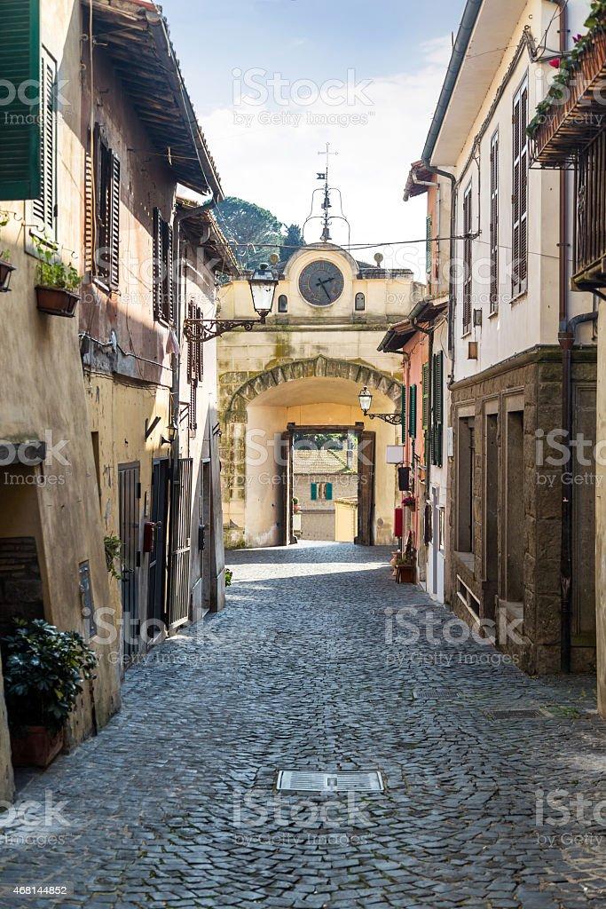 Porta Maggiore in Corso Umberto I - Anguillara Sabazia (Italy) stock photo