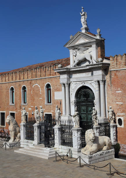 Porta Magna at Venetian Arsenal Ornamental gate to the Arsenal building in Venice, Italy porta magna stock pictures, royalty-free photos & images