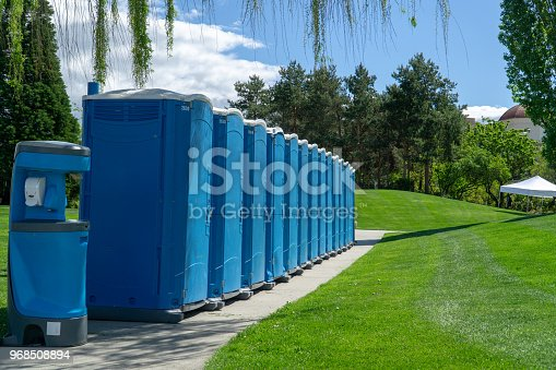 Portable Restrooms setup for an upcoming event