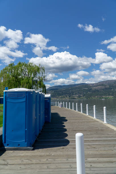Porta Poties Lined up for an Event stock photo