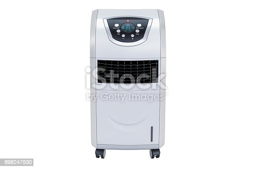 istock Portable Air Conditioner closeup, 3D rendering isolated on white background 898247530