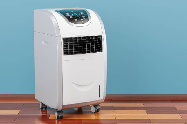 portable air conditioner in room on the wooden floor, 3d rendering - mobilità foto e immagini stock