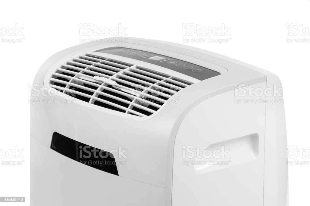 Portable air conditioner or dehumidifier isolated on white background stock photo