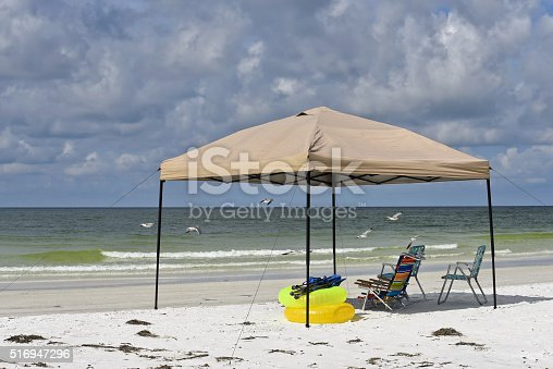 istock Portable Beach Shelter and Chairs 516947296