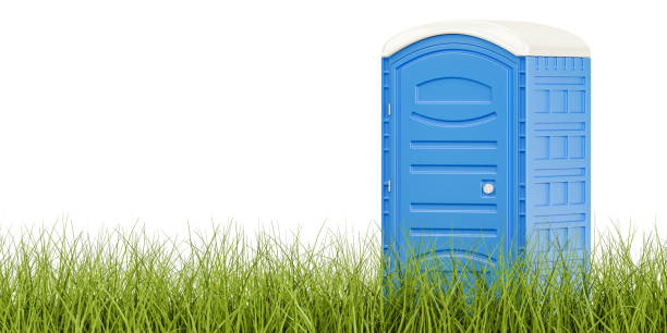 Portable blue toilet on the green grass, eco toilet concept. 3D rendering isolated on white background Portable blue toilet on the green grass, eco toilet concept. 3D rendering isolated on white background portable toilet stock pictures, royalty-free photos & images