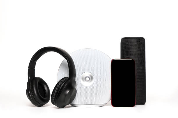 Portable bluetooth speakers and boombox on white stock photo