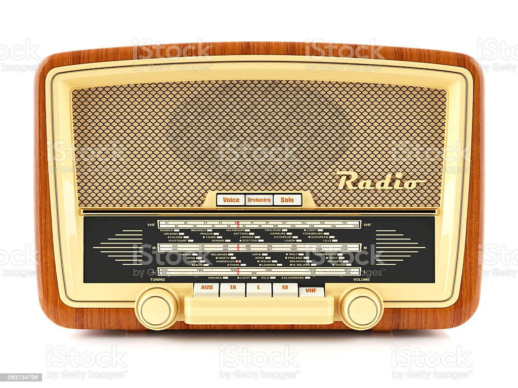 Portable brown retro radio receiver - foto de stock