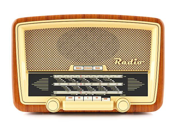 Portable brown retro radio receiver – Foto