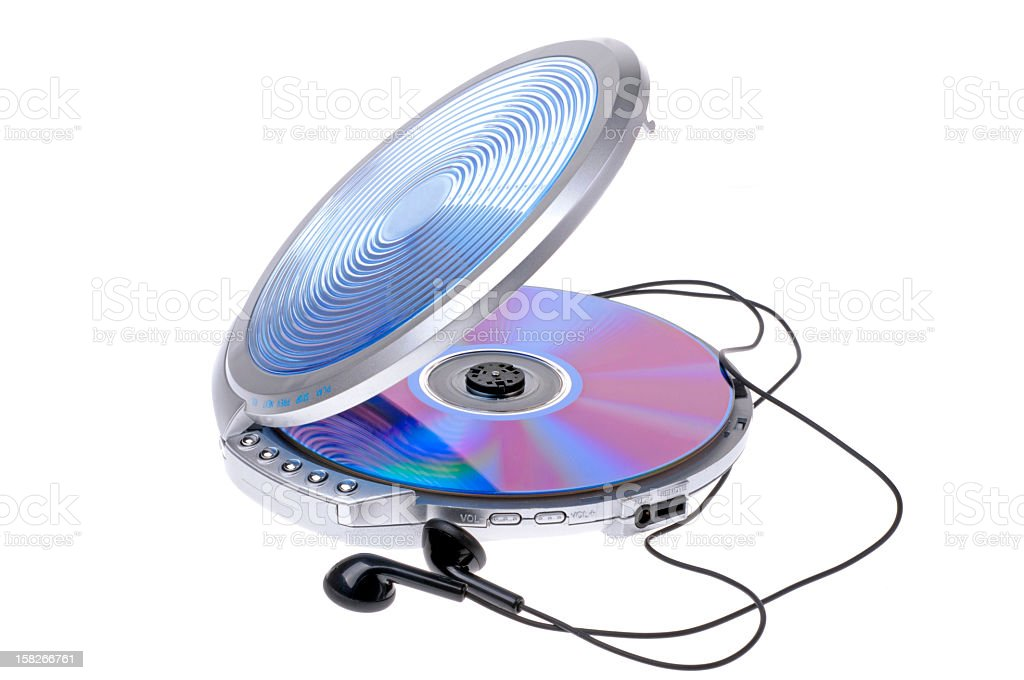 A portable CD player with headphones stock photo