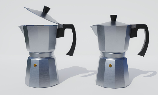 Portable coffee Moka pot for making espresso. Aluminum coffee pot. Use with gas stoves or magnetic stoves. white background and wallpaper.3d rendering.