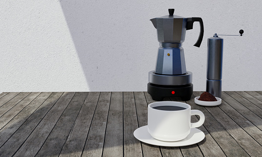 Portable coffee Moka pot for making espresso. Aluminum coffee pot. Use with gas stoves or magnetic stoves. white plaster wall  and  wooden table. White mug and dish.  3d rendering.