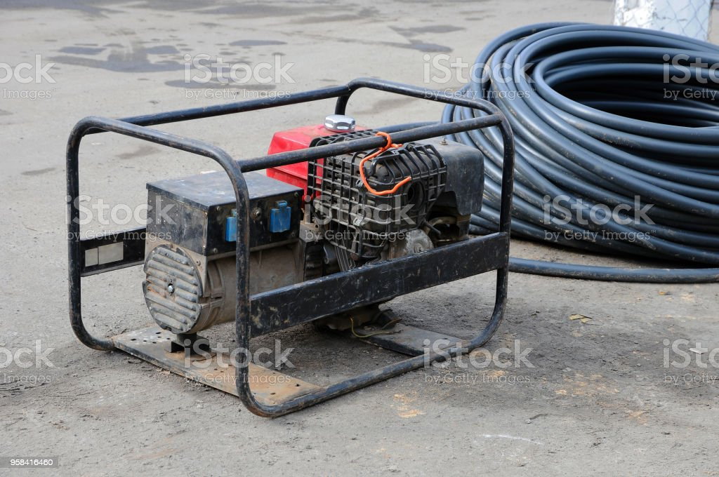 Portable diesel electric generator. stock photo