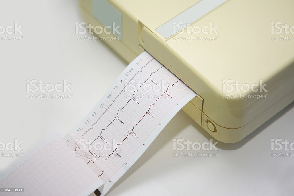 Portable ECG unit in action stock photo