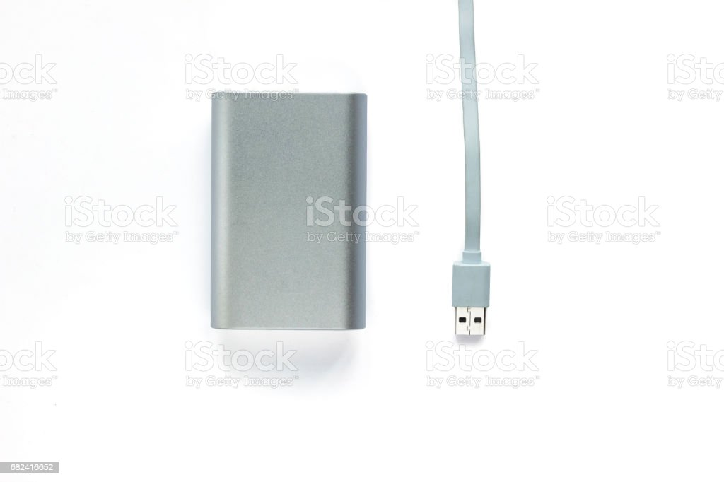 Portable external battery ( power bank ) with usb cable royalty-free stock photo