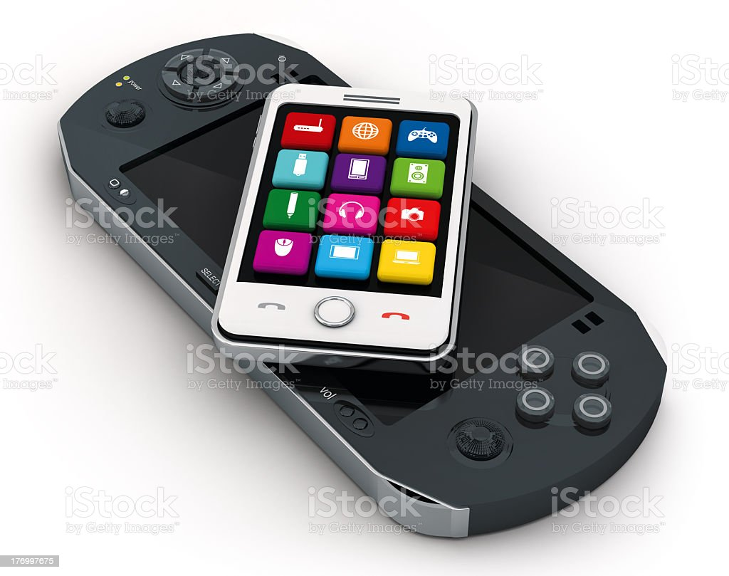 Portable game console and smartphone stock photo