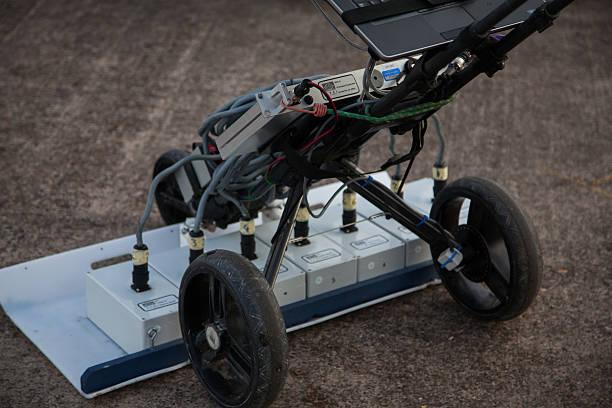 portable ground penetrating radar machinery on concrete - penetrating bildbanksfoton och bilder