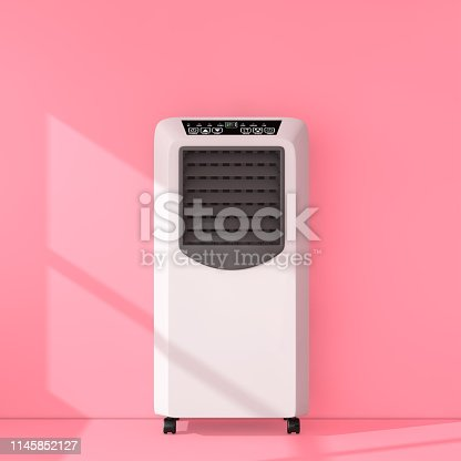 istock Portable Mobile Room Air Conditioner in Pink Room. 3d Rendering 1145852127