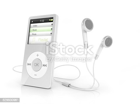 Portable musical player and headphones.