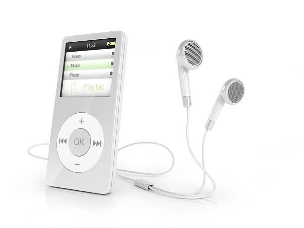 tragbare musical-spieler und kopfhörer. - geräusche app stock-fotos und bilder