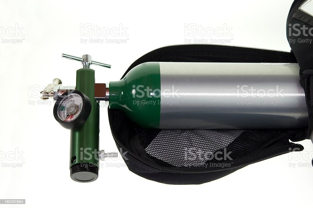 Portable oxygen tank in green and silver stock photo