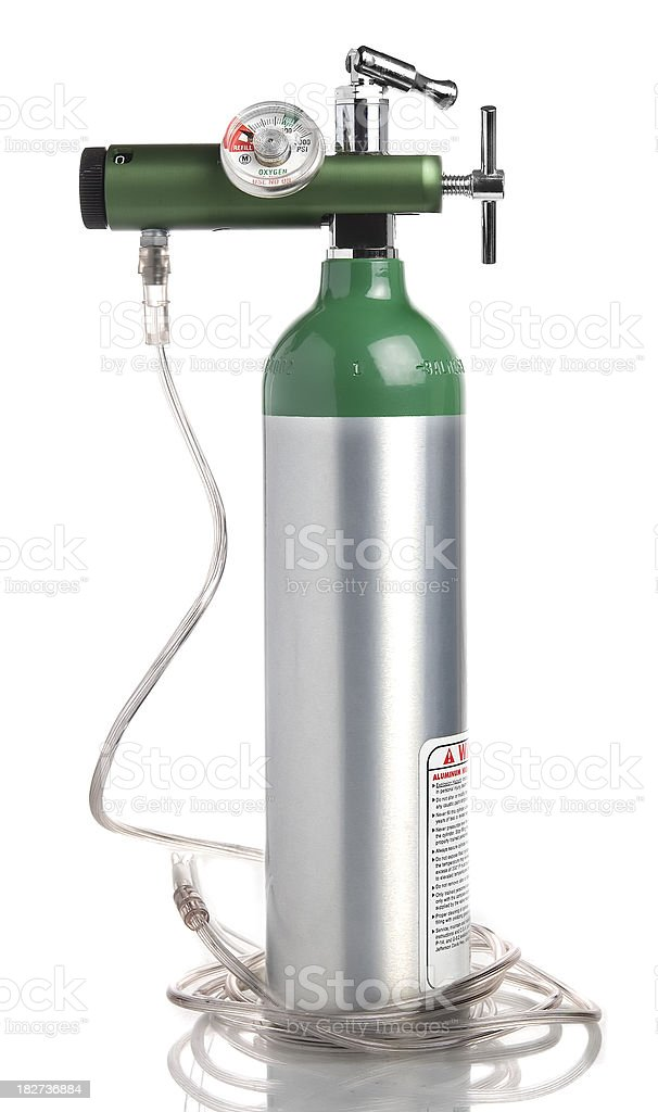 portable oxygen tank stock photo