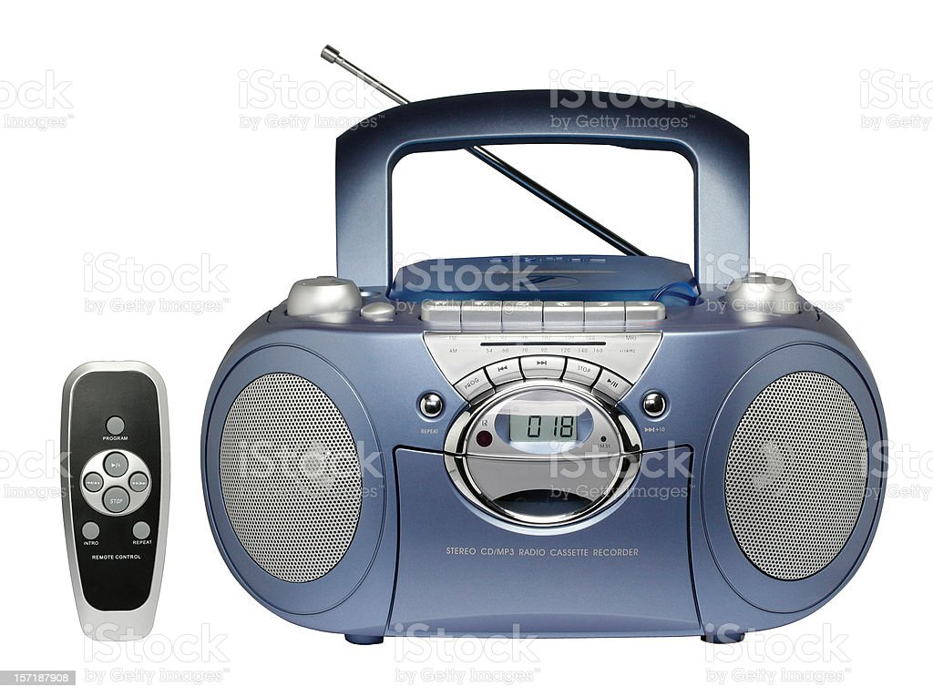 Portable radio cassette recorder with CD/MP3 player (clipping path) stock photo