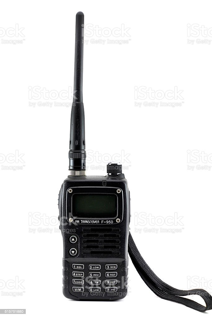Portable radio transmitter on a white background stock photo