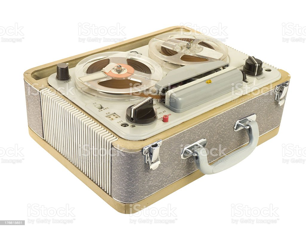 Portable Reel-to-reel Tape Recorder Tilt View royalty-free stock photo