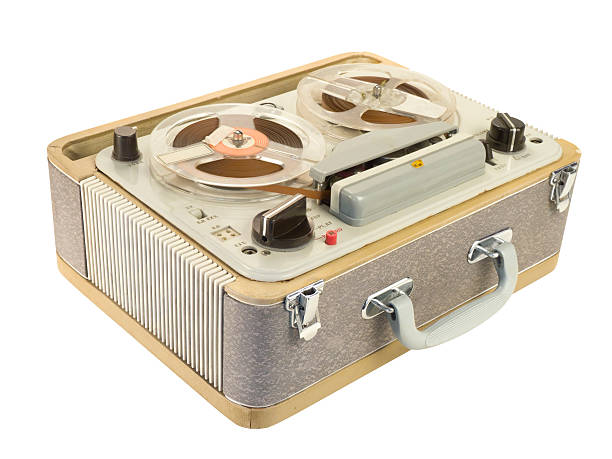 Portable Reel-to-reel Tape Recorder Tilt View stock photo