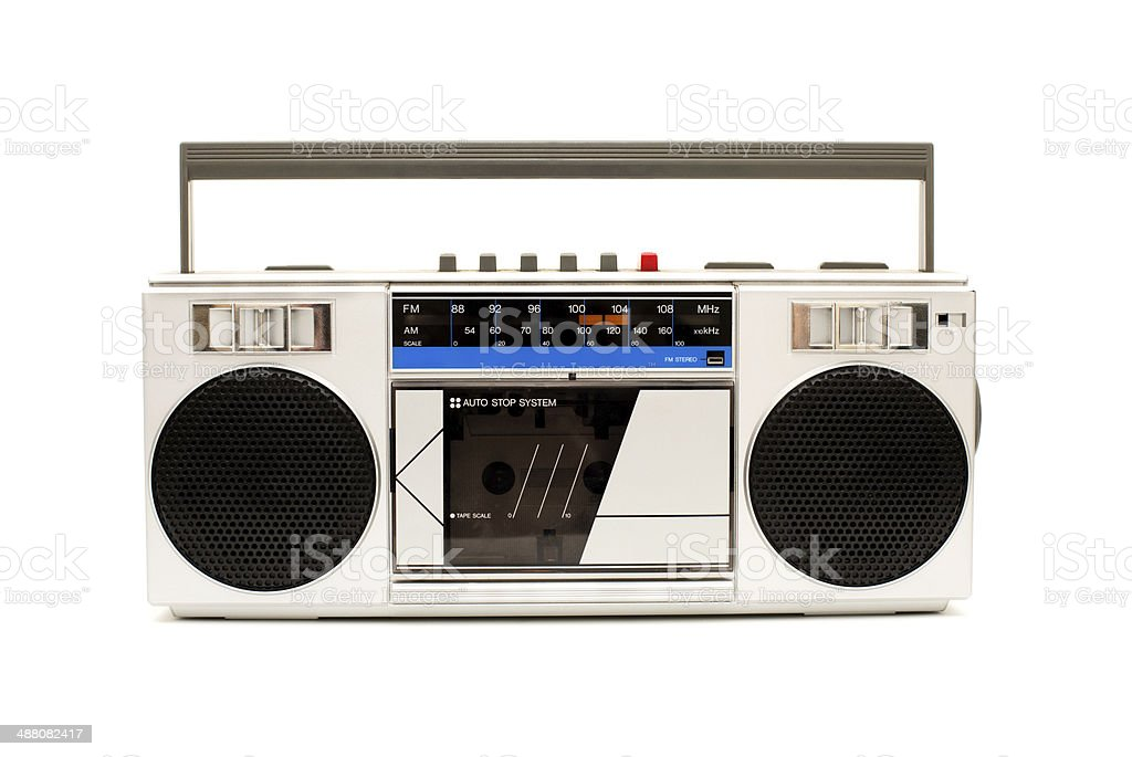 Portable, Silver Boom Box, With White Background stock photo