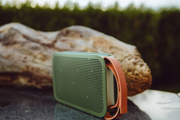 Portable small wireless speaker playing in a park stock photo