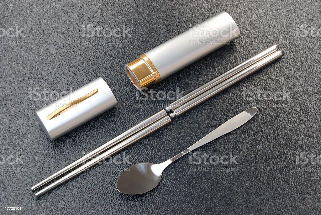 portable spoon and chopsticks set stock photo